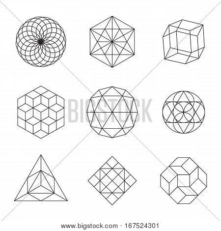 Geometric Shapes Set - set of 9 minimal designs