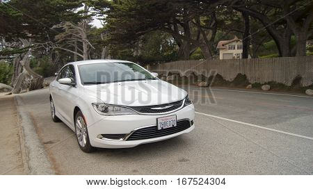 CARMEL, CALIFORNIA, UNITED STATES - OCT 6, 2014: Pescadero Point at 17 Mile Drive, is known as Ghost Tree. It gets, its name from the white gnarly local cypress trees in the area which bring to mind ghosts anything spooky. Closeup of an car.