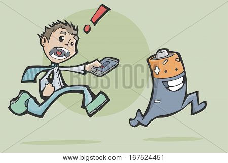 Vector illustration of a worried man chasing a happy battery to charge his mobile phone