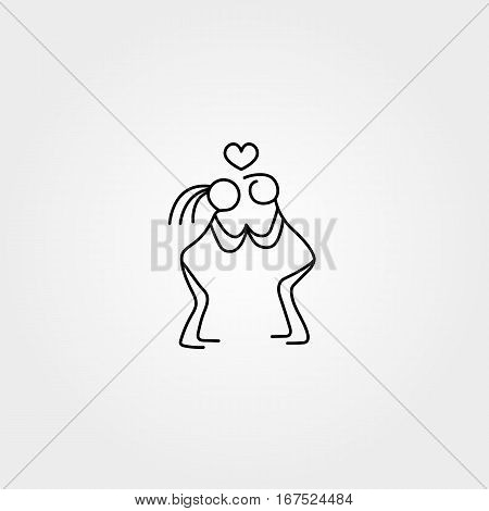 Family stick figures in love icon over white background, vector illustration