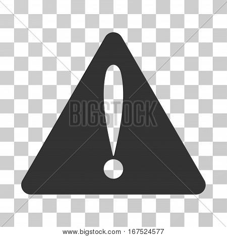 Warning Error vector icon. Illustration style is flat iconic gray symbol on a transparent background.