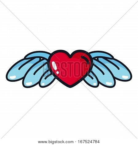Heart with wings in a cartoon style. Illustration for design party on Valentine's Day weddings betrothal.