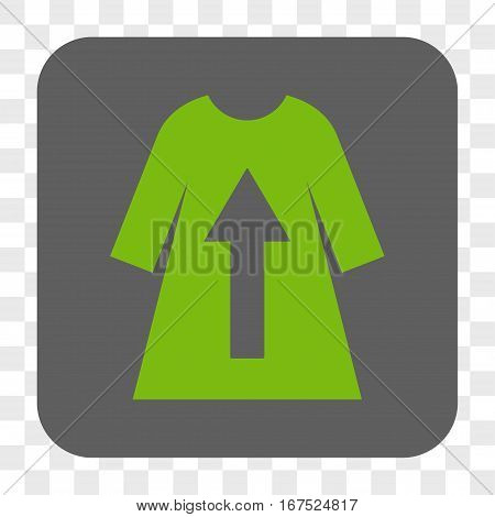 Take Off Female Dress interface toolbar button. Vector icon style is a flat symbol in a rounded square button light green and gray colors chess transparent background.