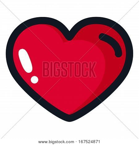 Big red heart with a black outline in a cartoon style. Illustration for design party on Valentine's Day weddings betrothal.