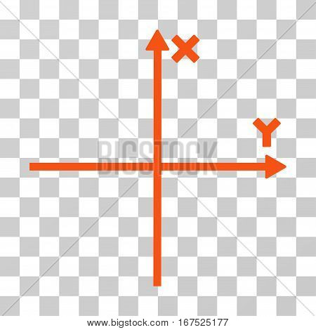 Cartesian Axes vector icon. Illustration style is flat iconic orange symbol on a transparent background.