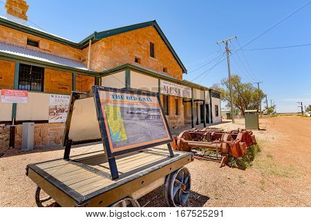 OODNADATTA AUSTRALIA - OCTOBER 24 2016: Oodnadatta Museum and old railroad stock at the Oodnadatta Track Outback South Australia Australia.