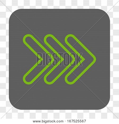 Triple Pointer Right interface toolbar button. Vector icon style is a flat symbol inside a rounded square button light green and gray colors chess transparent background.