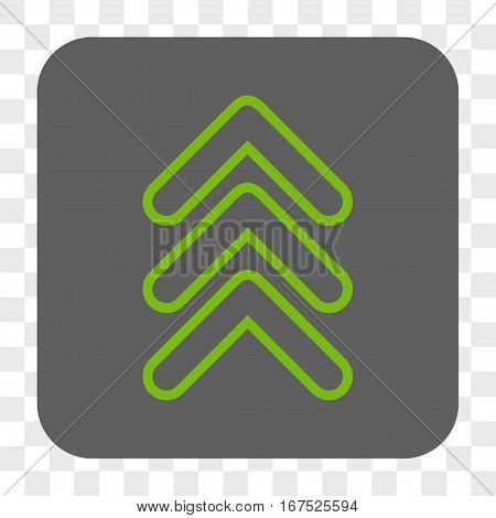 Triple Pointer Up interface toolbar button. Vector icon style is a flat symbol in a rounded square button light green and gray colors chess transparent background.