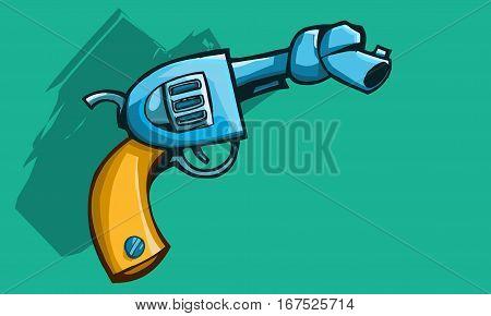 Vector illustration of a old revolver gun or pistol with tied barrel