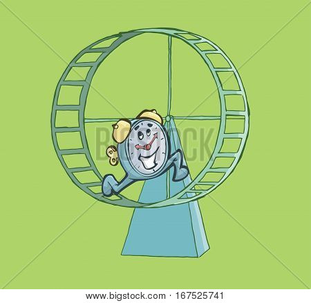 Happy clock running on a hamster wheel. Deadline Concept.