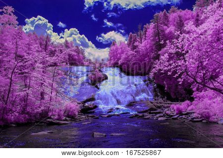 Falling waters and landscapes are captured in the infrared spectrum.