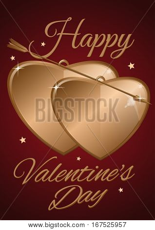 Valentine's Day design. Two golden heart pierced by a golden. Happy Valentine's Day. Couple of golden hearts and golden arrow on a red background. Vector illustration
