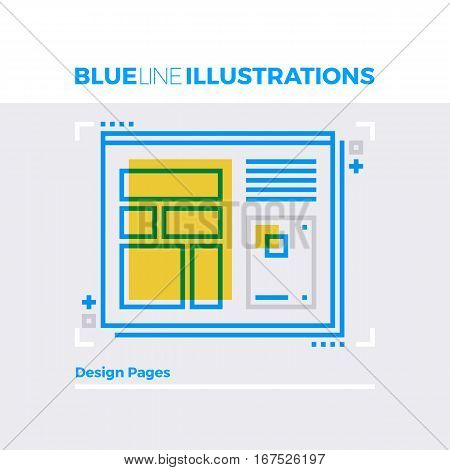 Web Design Blue Line Illustration.