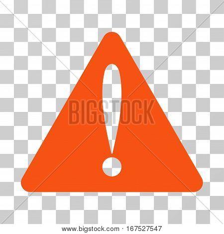 Warning Error vector pictogram. Illustration style is flat iconic orange symbol on a transparent background.