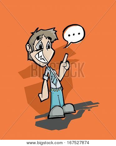 Cartoon illustration of man talking without confidence with a speech bubble
