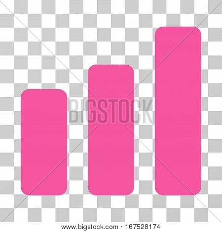 Bar Chart Increase vector pictogram. Illustration style is flat iconic pink symbol on a transparent background.