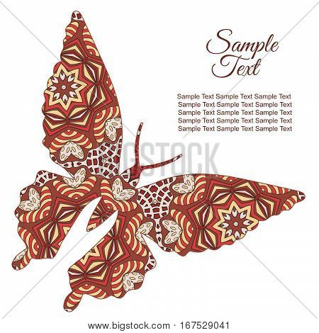 Doodle butterfly. Zentangl drawing. Holiday card. Rosy and brown