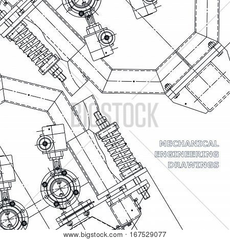 Mechanical engineering the drawing. Technical illustrations. The drawing for technical design. Cover