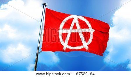 Anarchist sign flag, 3D rendering