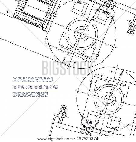 Mechanical engineering the drawing. Technical illustrations. The drawing for technical design. Cover banner
