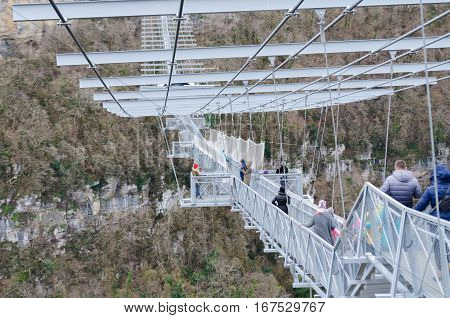 Sochi, Russia - January 2017: SKYPARK Hey Jay Hackett Sochi is located in Sochi national Park. The longest pedestrian suspension bridge in the world