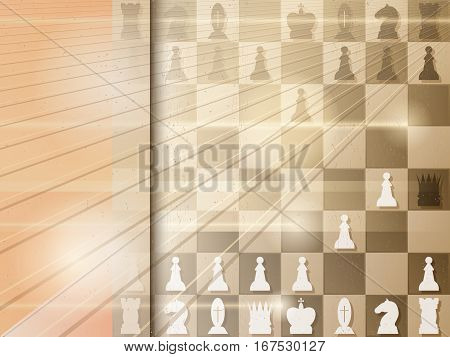 Abstract grunge background with chessboard. Checkmate. Vector illustration