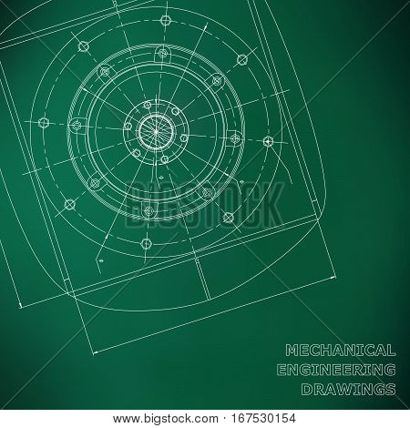 Mechanical engineering drawings. Engineering illustration. Vector background green