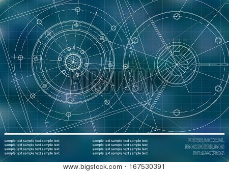 Vector Mechanical engineering drawings on a blue background. Cover Background for inscription labels. Corporate Identity. Grid