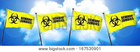 Beware zombies flag, 3D rendering