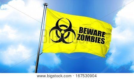 Beware zombies flag, 3D rendering