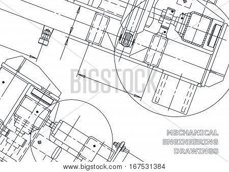 Mechanical Engineering drawing. Blueprints. Mechanics. Cover background