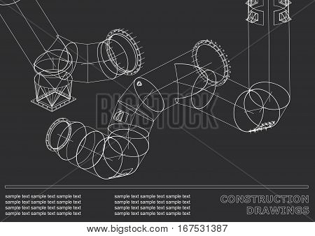 Drawings of steel structures. Pipes and pipe. 3d blueprint of steel structures. Cover background for your design