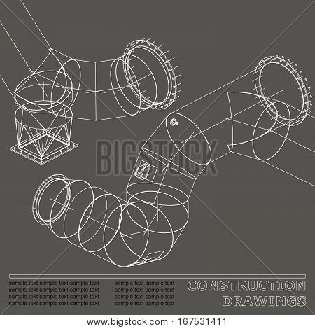 Drawings of steel structures. Pipes and pipe. 3d blueprint of steel structures. Background for your design