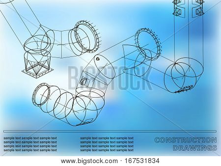 Drawings of steel structures. Pipes and pipe. 3d blueprint of steel structures. Cover blue background for your design