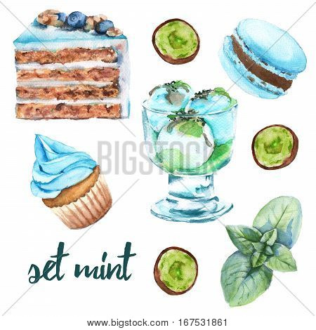 Set mint sweets. Cake, candy, ice cream and macaroon. Isolated on white background. Watercolor illustration