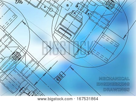 Mechanical Engineering drawing. Blueprints cover. Engineering drawing