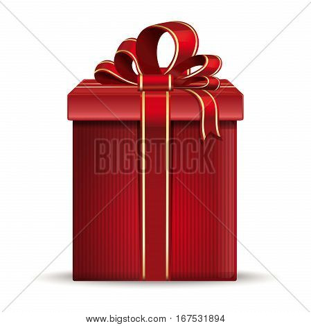 Red gift box with ribbon and bow. Holiday packages. Vector illustration isolated on white background