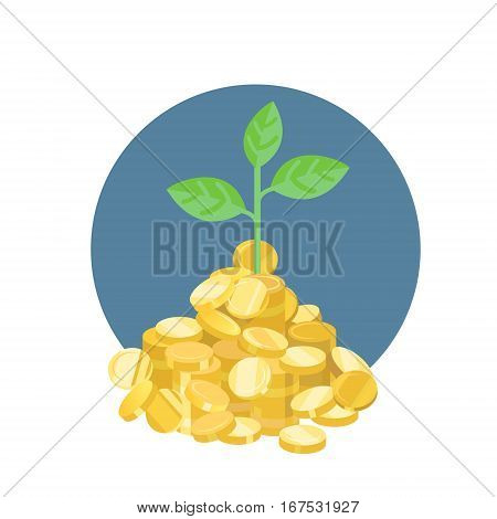 vector plant growth from golden coins on white
