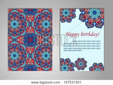 A set of cards with Happy Birthday. Old oriental motifs. Ramadan Indian Islam Arabic. Cover Magazine Oriental elements. Card or wedding invitation