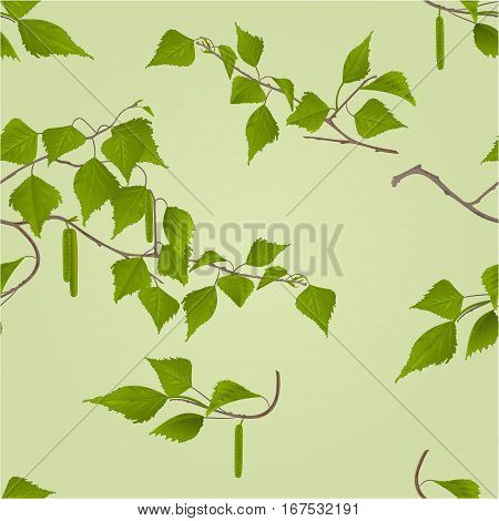 Seamless texture Birch twig with catkins natural background vector illustration