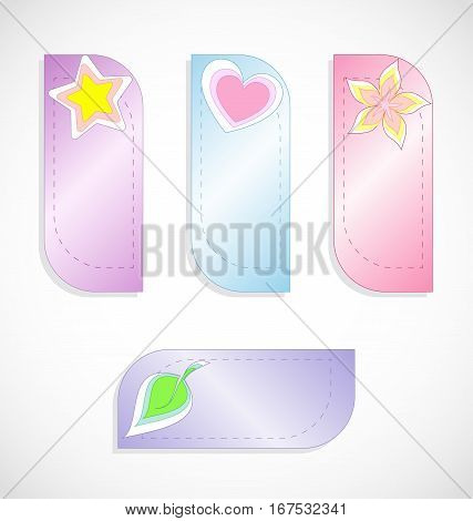 Vector set of colored labels or bookmarks with star, heart, flower and leaf.