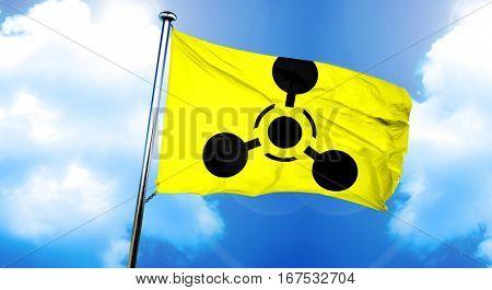 Chemical weapon sign flag, 3D rendering