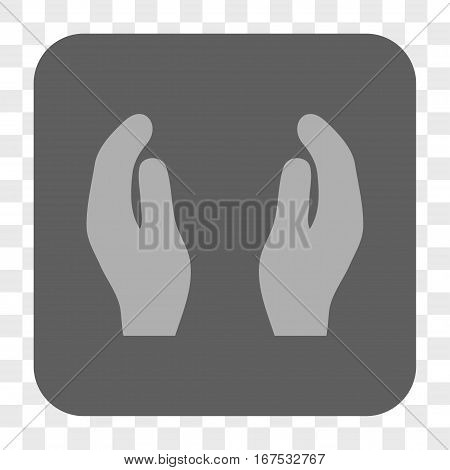 Applause Hands interface toolbar button. Vector icon style is a flat symbol in a rounded square button light gray and gray colors chess transparent background.
