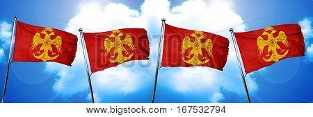 Byzatine eagle flag, 3D rendering