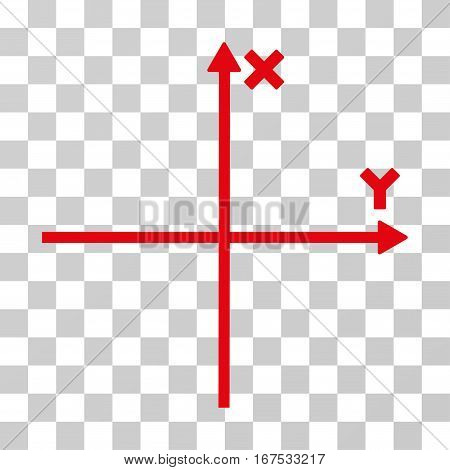 Cartesian Axes vector pictograph. Illustration style is flat iconic red symbol on a transparent background.