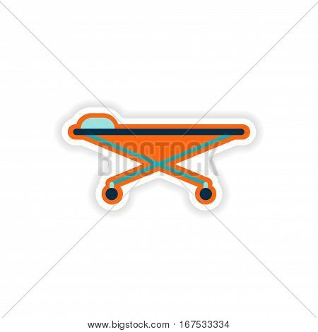 paper sticker on white background medical stretcher