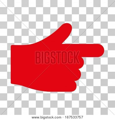 Index Hand vector icon. Illustration style is flat iconic red symbol on a transparent background.