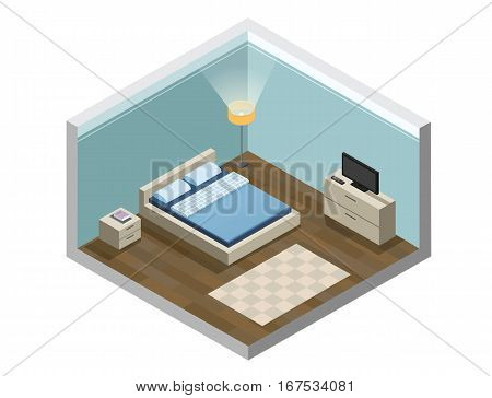 Vector isometric illustration of hotel room, Flat 3d, interior design, hotel icon, accommodation. Set of bedroom furniture, Cozy room