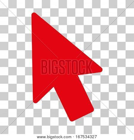 Mouse Pointer vector pictogram. Illustration style is flat iconic red symbol on a transparent background.