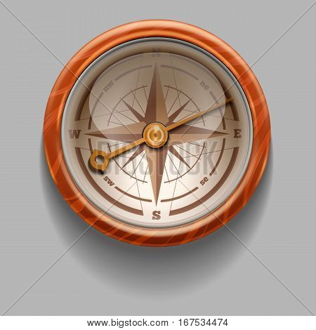Antique retro style compass with windrose. Vector Illustration.